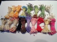 100 x wired Flower stamens, Green stem & Lilac Purple head, Double headed, Perfect for sugarcraft, crafts